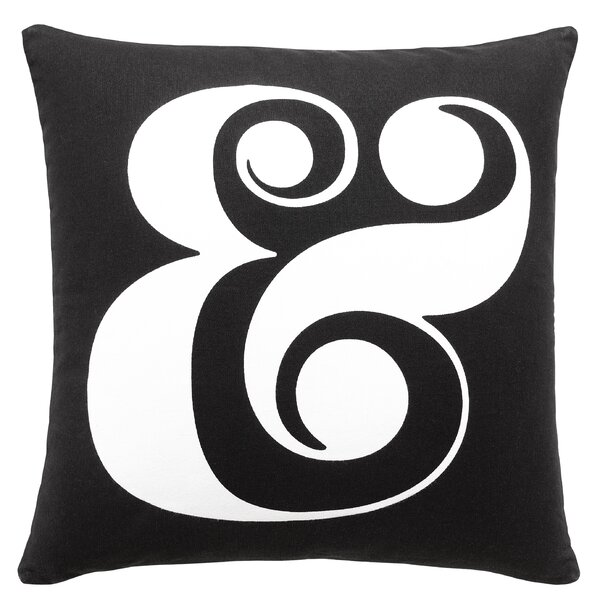 Ampersand Black 100% Cotton Throw Pillow by kate spade new york
